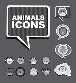 Animals icons over gray background vector illustration