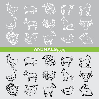 Animals icons. line set.