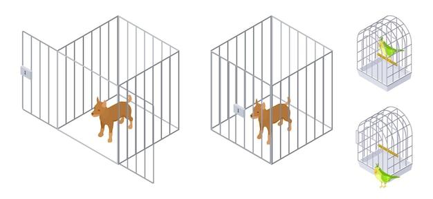 Животные в клетках. изометрические собака птица внутри и снаружи клетки. уход за домашними животными векторные иллюстрации. клетка для домашних животных, безопасность домашних щенков