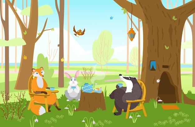 お茶会をしている春の森の動物