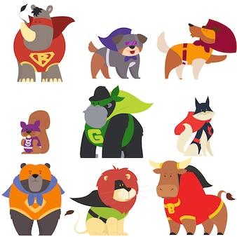 スーパーヒーローの衣装を着た動物。