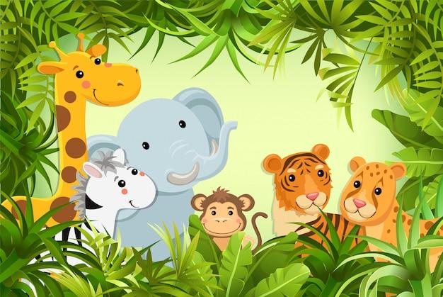 Животные в джунглях. векторная иллюстрация.