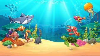Animals in underwater world