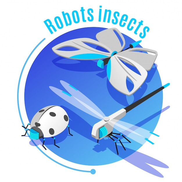 Животные насекомые изометрическая декоративная круглая рамка с беспроводной летающей роботизированной бабочкой божья коровка жук стрекоза