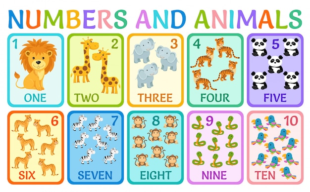 Animals of the jungle. cards numbers for kids.