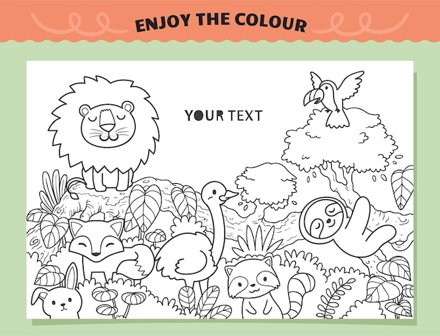 Animals in the jungle coloring for kids
