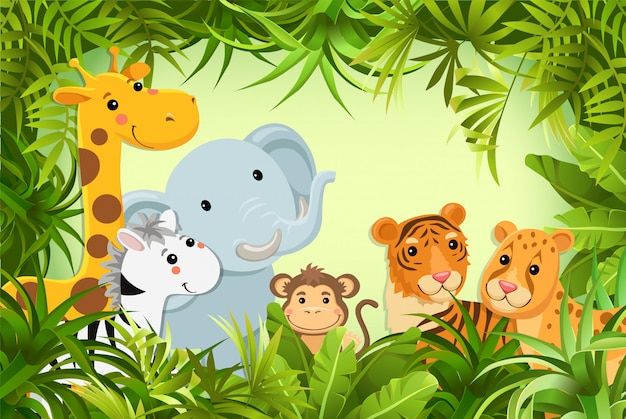 Animals in the jungle. vector illustration.