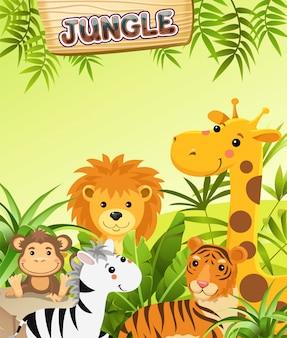 Animals in jungle.