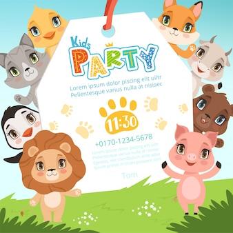 동물 키즈 초대장. 아기 생일 축하 파티 사진에서 만화 스타일 현수막에 귀여운 재미있는 정글 동물