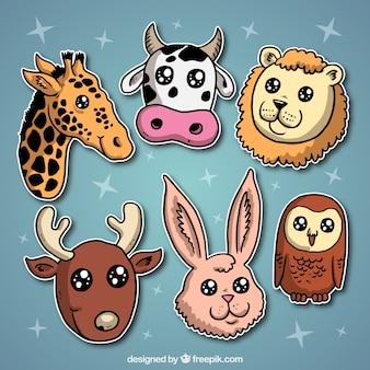 Animali etichette con gli occhi luminosi