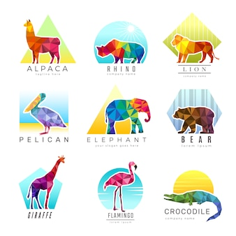 Animals logo. zoo low poly triangular geometric symbols fo different animals origami colored business identity vector. illustration geometric triangular animal logo, polygonal triangle