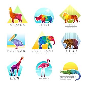 動物のロゴ。動物園の低ポリ三角形の幾何学的シンボルfoさまざまな動物の折り紙色のビジネスアイデンティティのベクトル。イラストの幾何学的な三角形の動物ロゴ、多角形の三角形