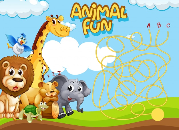 Animals maze game template