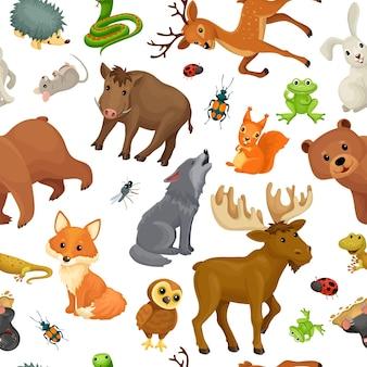 森の動物。シームレスパターン。