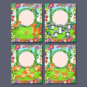 ジャングルの動物、子供の誕生日のフレームグリーティングカード