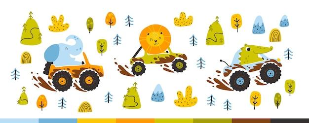 진흙에서 자동차의 오프로드 동물. 유치한 손으로 그린 낙서 스타일의 귀여운 순진한 만화 캐릭터 코끼리, 악어, 사자. 남자 아기에게 이상적입니다.