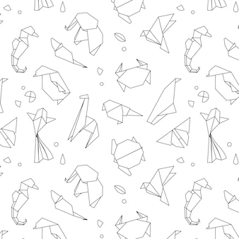 Animals origami pattern lines