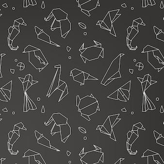 動物の折り紙パターン