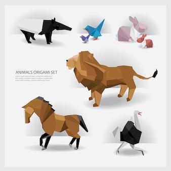 Животные оригами набор векторной иллюстрации