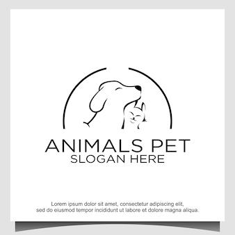 動物のペットの猫と犬のロゴデザイン