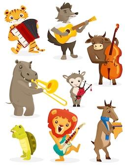 Animals playing instruments, set
