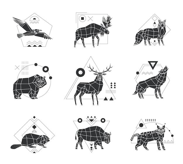 Animals polygonal monochrome emblems