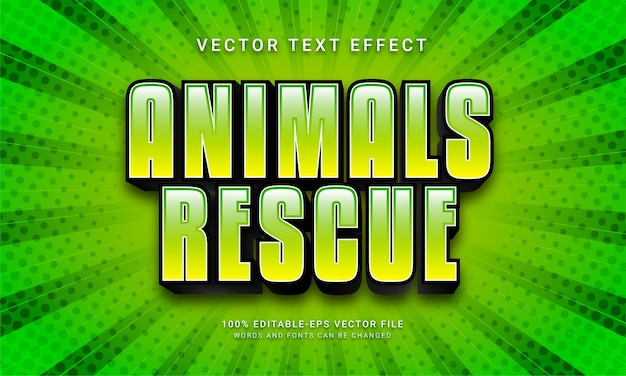 Animals rescue editable text effect with green color theme
