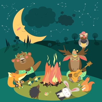 Animals resting around bonfire