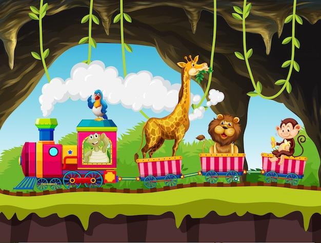 Animals riding train in nature