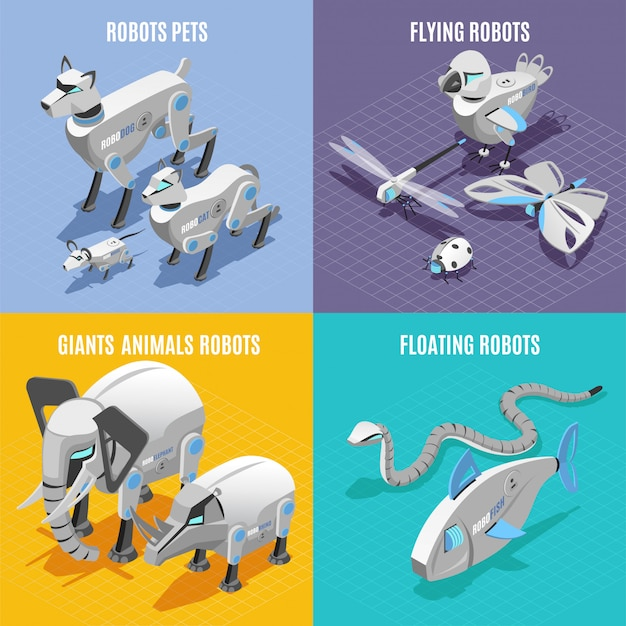 Animals robots concept 4 colorful  isometric icons square with automated pets insects fish snake