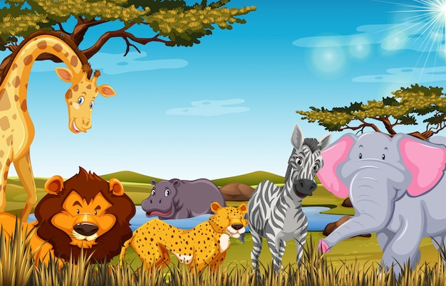 Animals in safari scene illustration