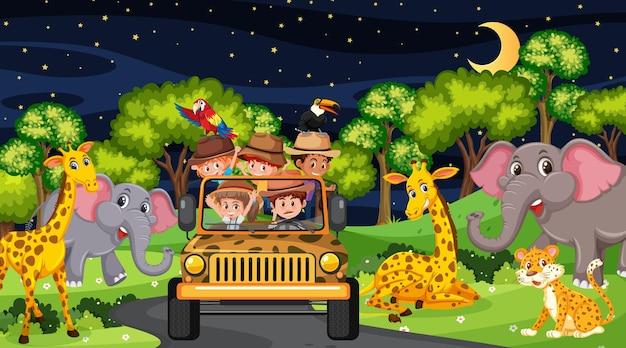 Animals in safari scene with children in the tourist car