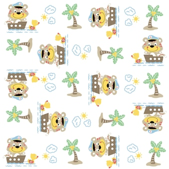 Animals sailor cartoon, cat, duck, coconut tree, sun, cloud on pattern vector
