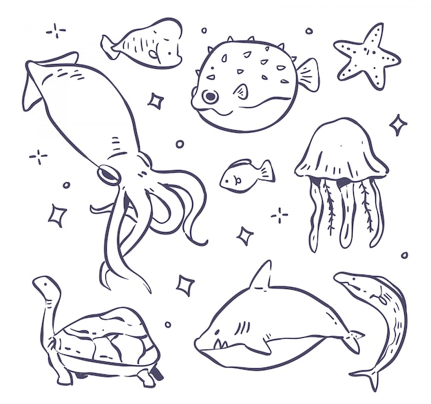 Animals sea doodle illutration set