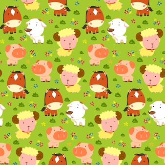 Animals seamless pattern, adorable farm animals live in farmland