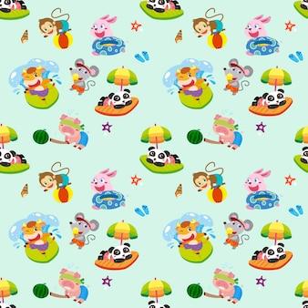 Animals seamless pattern design, lovely animals enjoying water activities