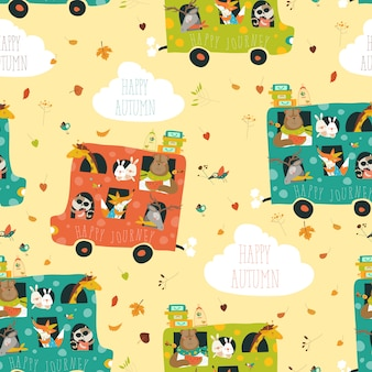 Animals seamless pattern traveling by bus