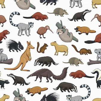 Animals seamless pattern of wild mammals and bird