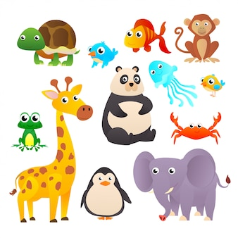 Animals set in flat style isolated