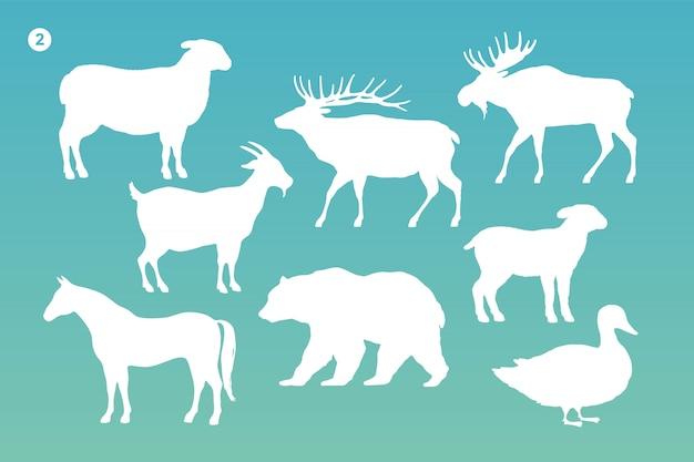 動物シルエットセット。動物の白いシルエット