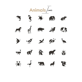 Animals silhouettes icons