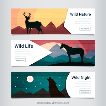 Animals silhouettes in landscapes banners