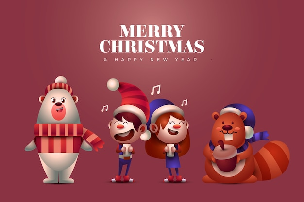 Animals and singing kids christmas characters