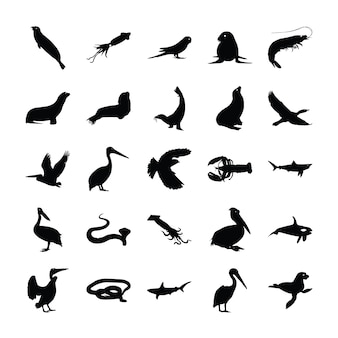 Животные твердые пиктограммы коллекция