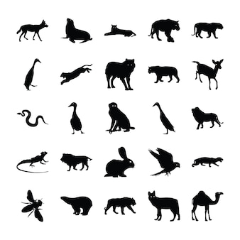 Animals solid pictograms pack