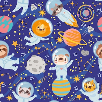 Animals in space seamless pattern