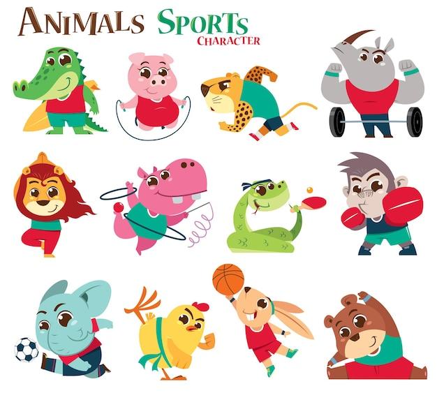 動物スポーツキャラクター漫画 Premiumベクター