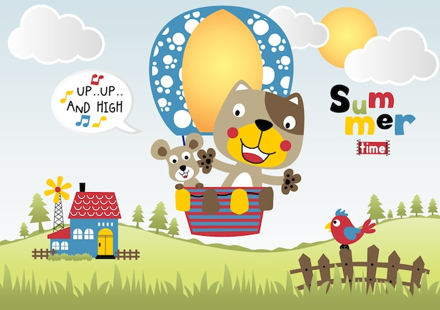 Animals summer holiday with hot air balloon