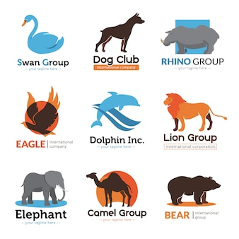 Animals symbols flat logo collection with eagle bear camel and dog club emblem abstract isolated vector illustration