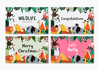 Animals theme card template collection vector